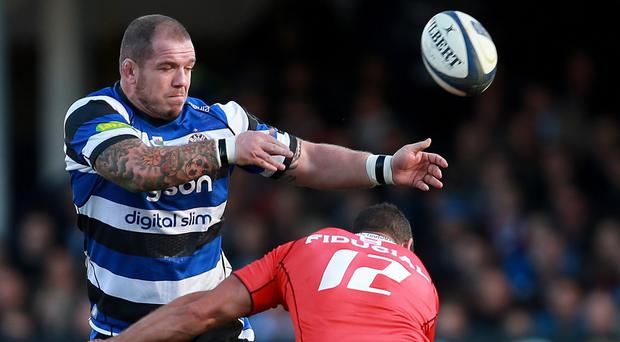 Bath prop Paul James, left, expects to face a strong challenge from Harlequins on Friday