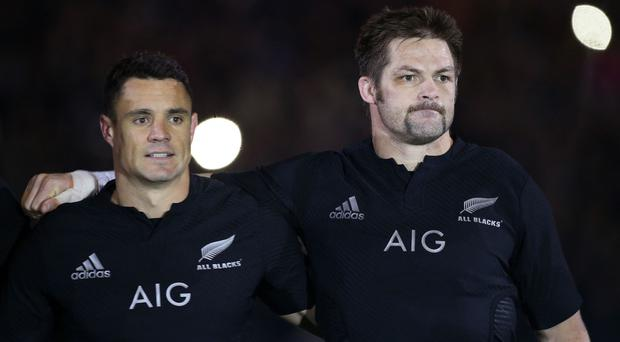Dan Carter, left, and Richie McCaw bade farewell to Christchurch in a thumping win