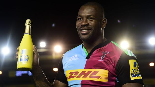 Harlequins wing Ugo Monye scored two tries on his Twickenham Stoop farewell