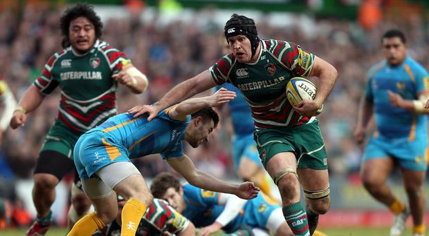 Leicester flanker Julian Salvi, right, will leave the East Midlands club this summer