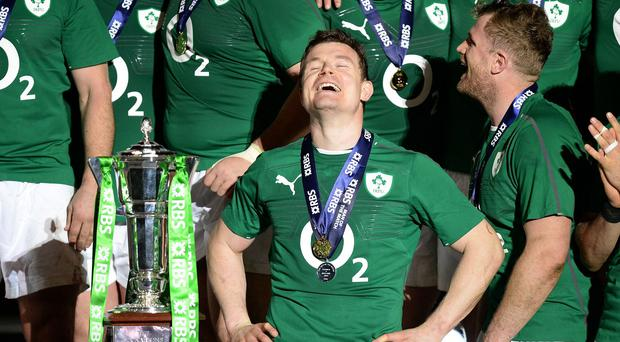 Brian O'Driscoll, pictured centre, has joined the official battle for Ireland to be named Rugby World Cup 2023 hosts