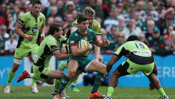 Leicester Tigers Ben Youngs gets away from Northampton's Lee Dickson during the Aviva Premiership match at Welford Road Stadium, Leicester.