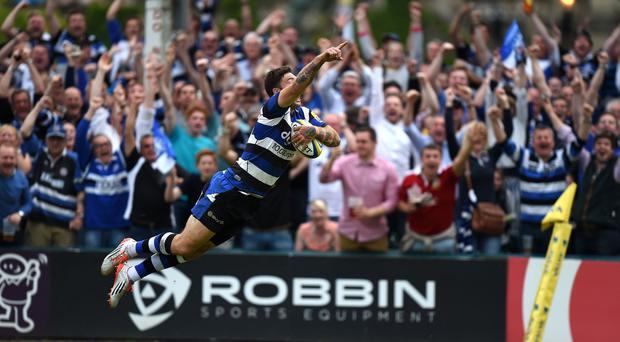 Matt Banahan became the first player in Premiership play-off history to claim a hat-trick of touchdowns
