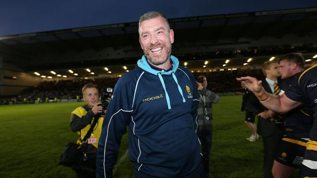 Worcester rugby director Dean Ryan celebrates his team's return to the Aviva Premiership after a thrilling clash against Bristol at Sixways