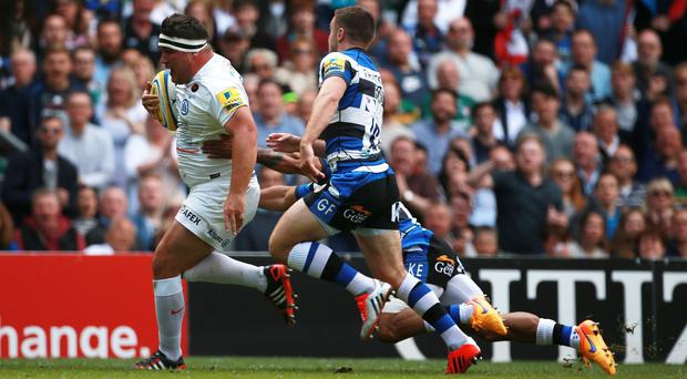 Jamie George breaks clear to score for Saracens in the Aviva Premiership final against Bath