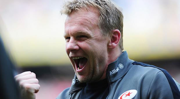 Glory day: Mark McCall celebrates Saracens' title success