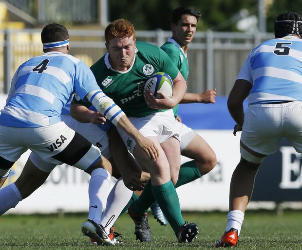 Repeat performance: Ireland's Oisin Heffernan is aiming to replicate his try against New Zealand last year