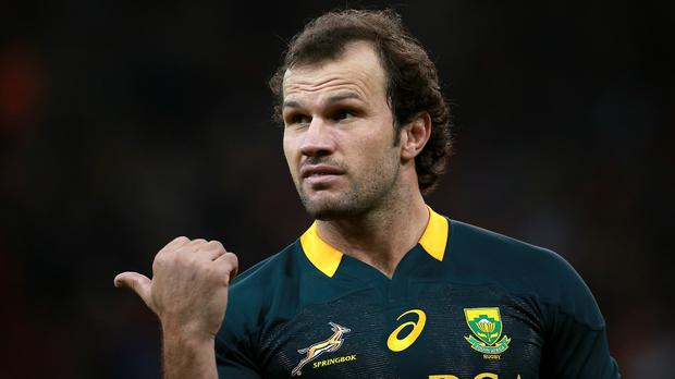 Bismarck du Plessis scored on his final appearance for the Sharks
