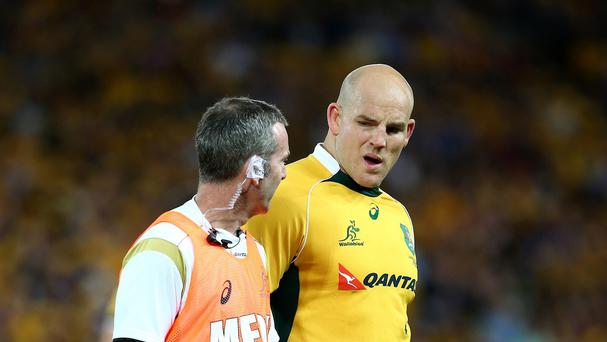 Australia's Stephen Moore, right, has been named captain for the Rugby World Cup