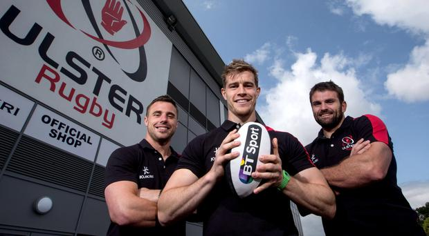 Big names: Ulster's Tommy Bowe, Andrew Trimble and Jared Payne at the announcement at the Kingspan Stadium that Ulster Rugby has extended its partnership with BT Sport