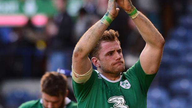 Jamie Heaslip, pictured, will become Ireland's most-capped back-row forward in Cardiff on Saturday
