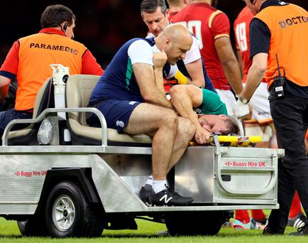 Painful end: Tommy O'Donnell dislocated his hip against Wales