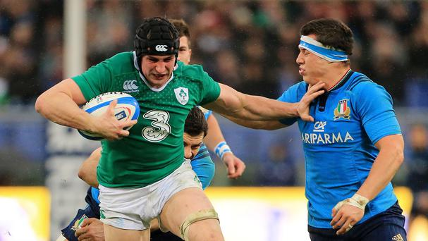 Ireland flanker Tommy O'Donnell (left) has been ruled out of the Rugby World Cup due to a hip injury