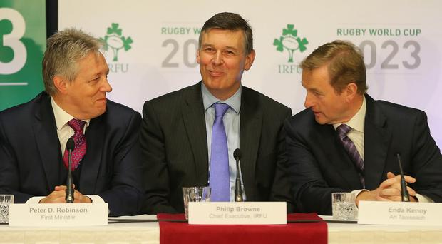 Philip Browne, centre, has admitted Ireland have a new sponsor lined up