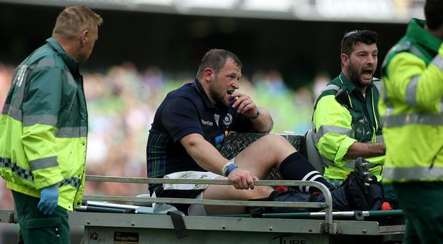 Injury victim Ryan Grant is carried off the pitch in Dublin