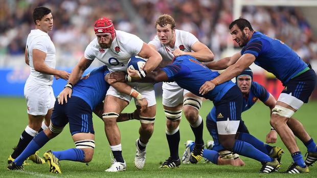 James Haskell, third left, did his World Cup chances no harm in Paris