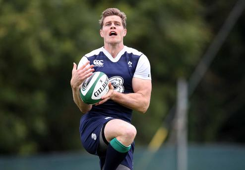 Fighting fit: Andrew Trimble, pictured in training yesterday, is set to start Ireland's final World Cup warm-up game against Wales