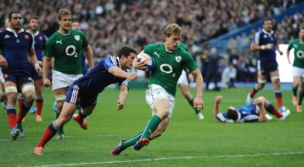 Andrew Trimble, with ball, has been omitted from Ireland's Rugby World Cup squad