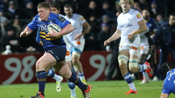 Tadhg Furlong, left, has been backed to cope with switching from tighthead to loosehead prop for Ireland