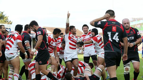 Amanaki Mafi celebrates his winning try for Japan