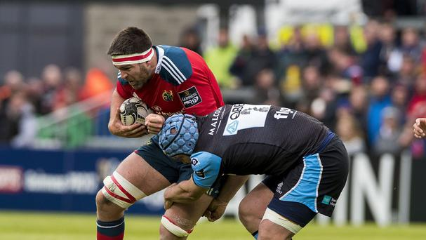 CJ Stander, with the ball, helped Munster to victory over Benetton Treviso.