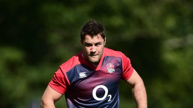 England's Brad Barritt states his case for the defence.
