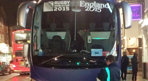 Picture taken with permission from the Twitter feed of Dan Hicks, showing the team bus carrying the French rugby union squad catching the attention of a traffic warden during their stay in Croydon, south London