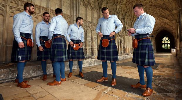 Scotland's Stuart Hogg (right) admits he has had to keep a check on his antics during his side's World Cup camp