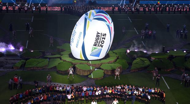 A large rugby ball dominated the pitch of the opening ceremony at Twickenham