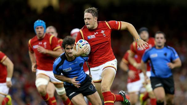 Cory Allen sprints clear for Wales against Uruguay