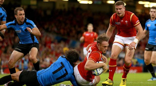 Wales centre Cory Allen's World Cup looks over after he picked up a hamstring injury in the win over Uruguay