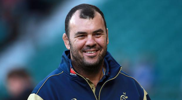 Australia head coach Michael Cheika, pictured, is relishing seeing Michael Hooper and David Pocock line up in Wednesday's World Cup opener against Fiji