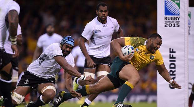 Australia prop Sekope Kepu scores his side's third try