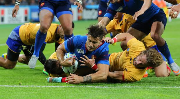 France's Sofiane Guitoune scored twice in the 38-11 win over Romania