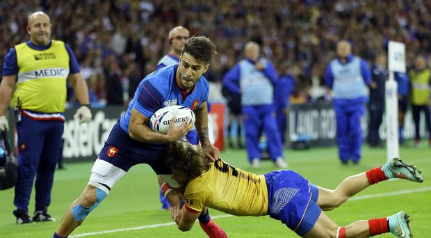 Sofiane Guitoune (left) scored twice as France beat Romania 38-11.