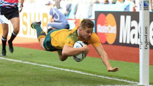 Drew Mitchell scored a pair of tries against Uruguay