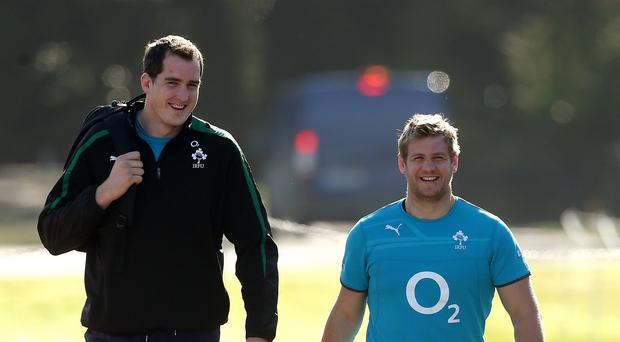 Devin Toner, left, was too tall to enjoy the full range of delights at Alton Towers