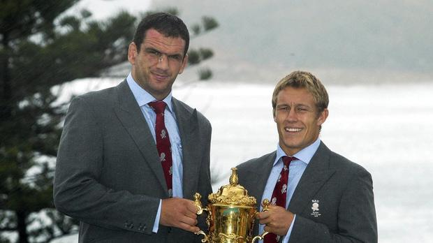 Martin Johnson, left, and Jonny Wilkinson, right, won the World Cup together in 2003