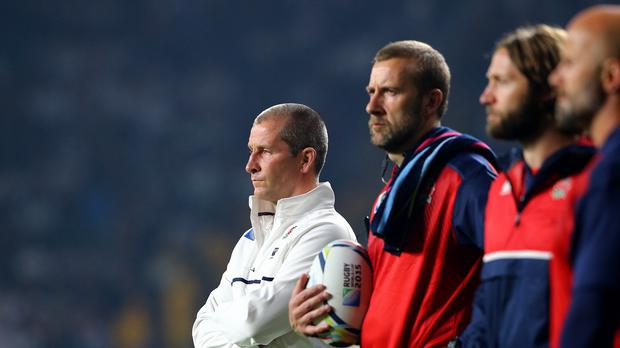 Stuart Lancaster, left, has presided over a group-stage exit at the World Cup