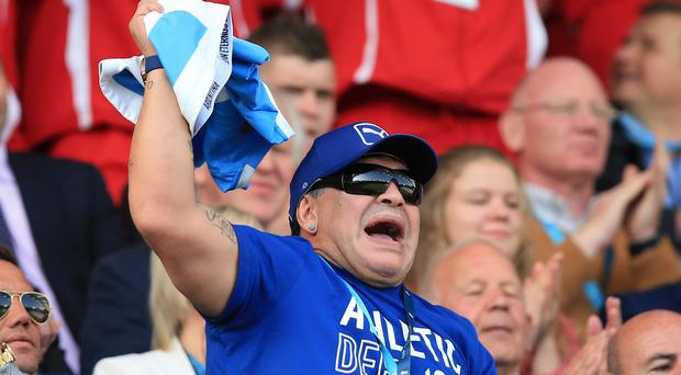 Diego Maradona was at the King Power Stadium to see Argentina's 45-16 win over Tonga.