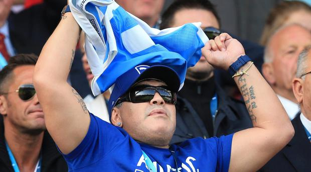 Argentina football great Diego Maradona was in attendance as the Pumas overcame Tonga