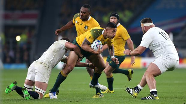 Australia's Israel Folau, with ball, could yet be available to start against Wales