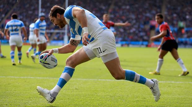 Horacio Agulla dots down for Argentina in the win over Namibia