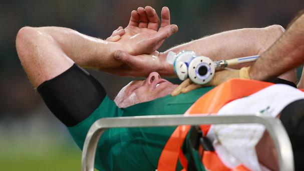 Paul O'Connell was stretchered off against France