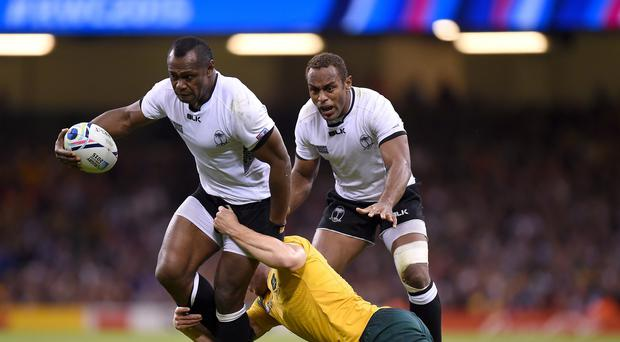 Fiji centre Vereniki Goneva (left) scored a stunning World Cup try against Wales that showcased the South Sea Islanders' mesmeric handling skills