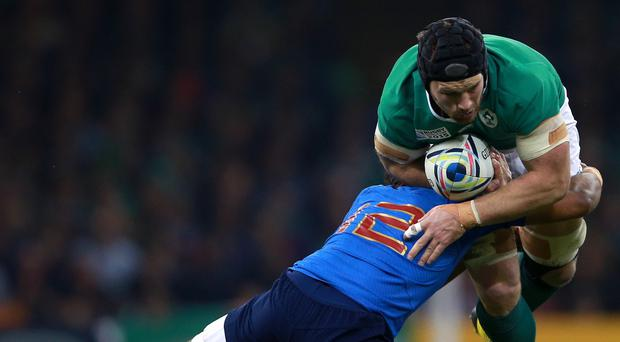 Sean O'Brien, right, was the subject of frustrated scrutiny from France boss Philippe Saint-Andre