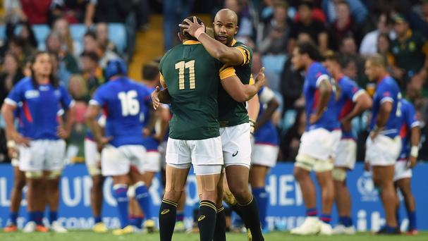 JP Pietersen, right, says Bryan Habana is one of the best 11s he has ever played with