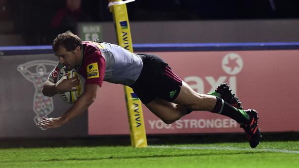 Nick Evans scored Harlequins' first try in the win over Wasps