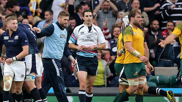 Referee Craig Joubert made a key mistake in the World Cup quarter-final between Scotland and Australia