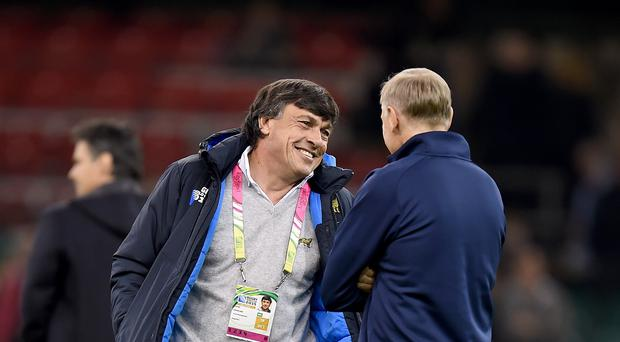 Daniel Hourcade, left, has guided Argentina to a second World Cup semi-final, the Pumas benefiting from joining the Rugby Championship